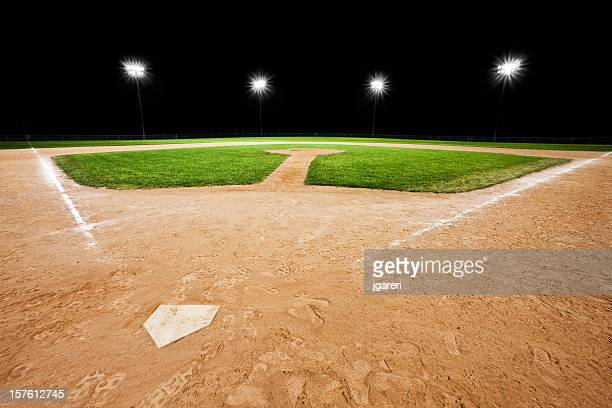 An empty baseball diamond with stadium lights in background