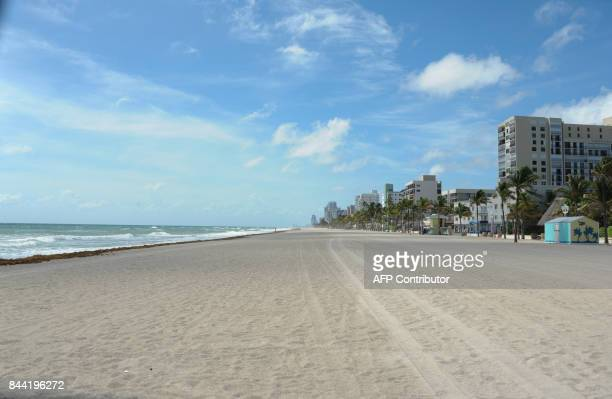 An empty beach is seen before the arrival of hurricane Irma in Miami Florida on September 8 2017 Florida Governor Rick Scott warned that all of the...