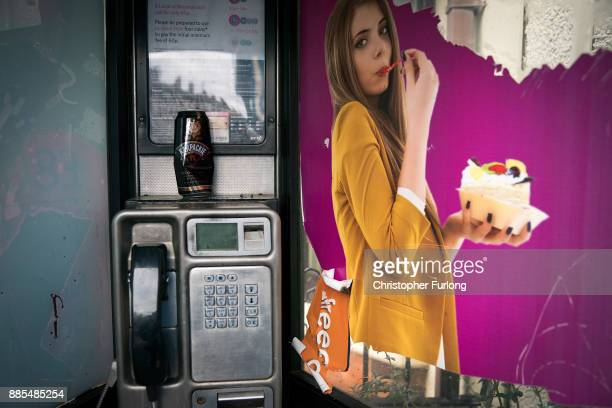 An empty beer can is left in a phone box in the centre of Walsall West Midlands on December 4 2017 in Walsall United Kingdom In a State of the Nation...