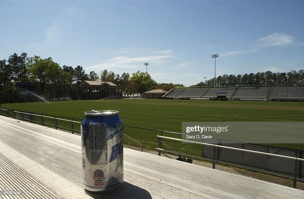 An empty beer can is left in the stands of Koskinen Stadium, where the lacrosse team plays, April 11, 2006 in Durham, North Carolina. The investigation into the Duke lacrosse players regarding allegations of a sexual assault of a woman hired as a private dancer March 13 are continuing despite DNA tests having have found no evidence linking the lacrosse players with the alleged rape.