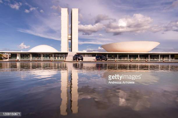 An empty Brazilian National Congressis seen during the coronavirus pandemic on April 4, 2020 in Brasília, Brazil. According to the Ministry of...