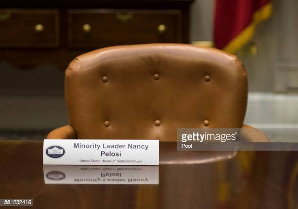 An empty chair is seen for House Minority Leader Nancy Pelosi DCA during a meeting with President Donald Trump and members of the congressional...