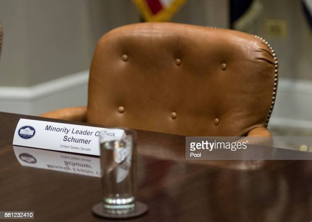 An empty chair is seen for Senate Minority Leader Charles Schumer DNY during a meeting with President Donald Trump and members of the congressional...