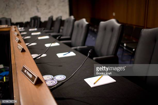 An empty chamber awaits the members of the Senate Judiciary Committee on Capitol Hill in Washington