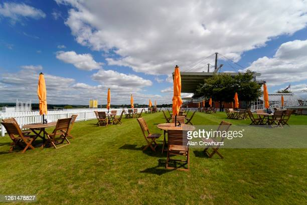 An empty Champagne lawn at Goodwood Racecourse on July 28 2020 in Chichester England Owners are allowed to attend if they have a runner at the...