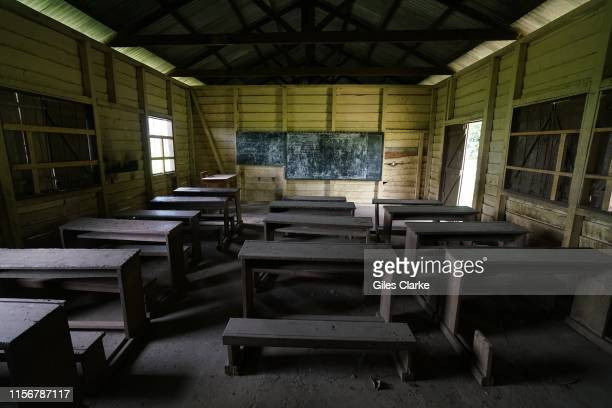 An empty classroom in a now abandoned school on May 12, 2019 in SW Cameroon. Many government paid teachers now refuse to go to schools in SW Cameroon...