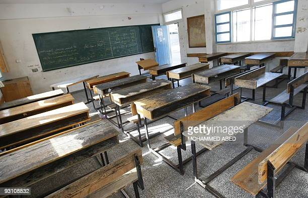 An empty classroom is pictured at a closed United Nations school in Gaza City on November 17 2009 as UN Palestinian employees stage a one daystrike...