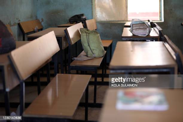 An empty classroom with schoolbags and wares of schoolboys is seen left behind after gunmen abducted students at the Government Science school in...