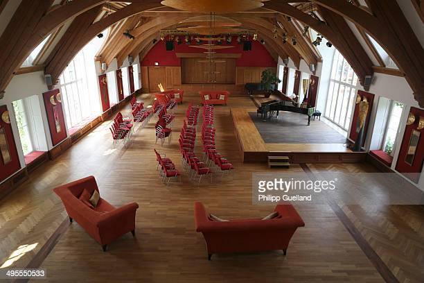 An empty concert hall is seen at Schloss Elmau, a luxury spa hotel, in the Bavarian Alps of southern Germany on June 3, 2014 in Kruen near...