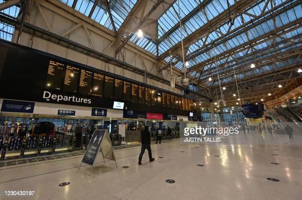 An empty concourse at Waterloo station as workers stay at home following the government's decision to put the country into lockdown in London on...