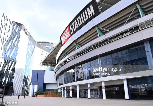 An empty concourse outside Marvel Stadium during the round 1 AFL match between the Western Bulldogs and the Collingwood Magpies at Marvel Stadium on...