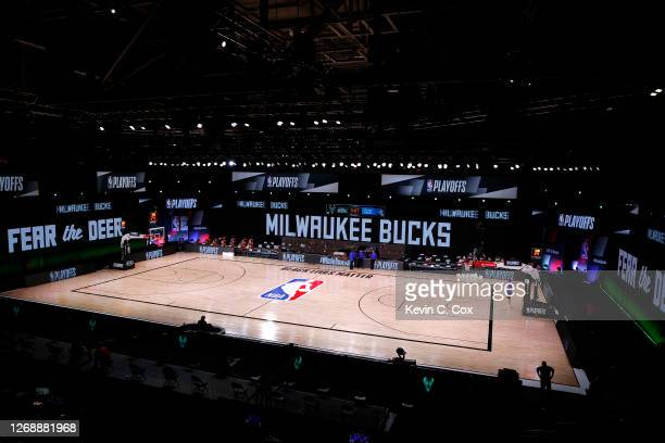 An empty court and bench is shown before the start of a scheduled game between the Milwaukee Bucks and the Orlando Magic for Game Five of the Eastern...