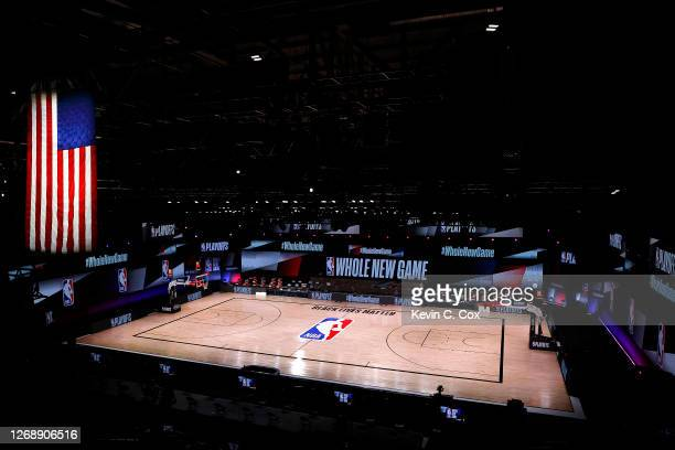 An empty court and bench is shown following the scheduled start time in Game Five of the Eastern Conference First Round between the Milwaukee Bucks...