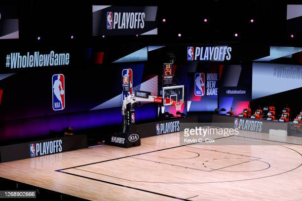 An empty court and bench is shown with the #WholeNewGame signage following the scheduled start time in Game Five of the Eastern Conference First...