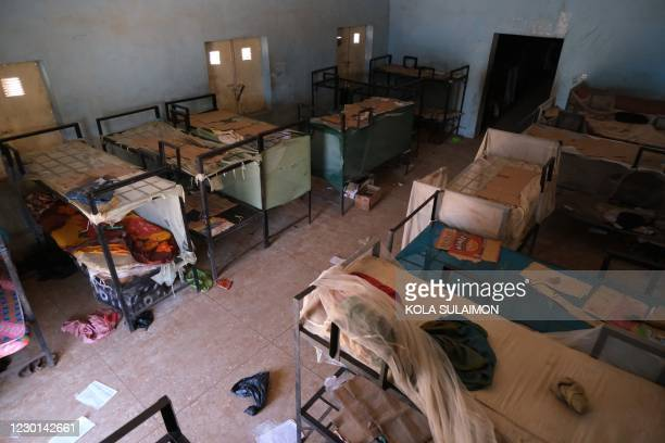 An empty dormitory full of wares of schoolboys is seen after gunmen abducted students at the Government Science school in Kankara, in northwestern...