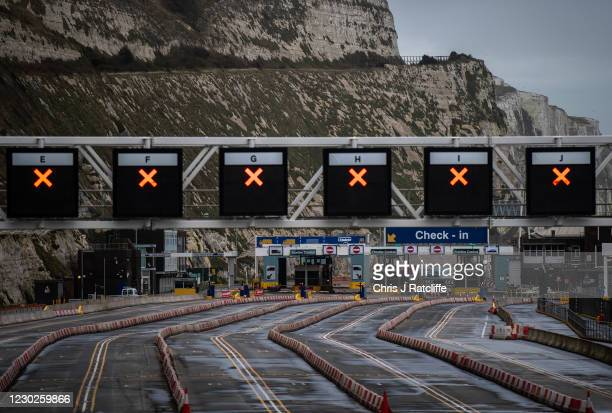 An empty Dover port as the border to France is closed on December 22, 2020 in DOVER, United Kingdom. Nearly 1000 lorries remained stacked up in Kent...
