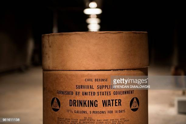 TOPSHOT An empty drinking water container is seen in a former Civil Defense fallout shelter beneath the OysterAdams School April 17 2018 in...