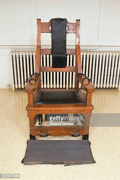 An empty electric chair in the death chamber of Indiana State Penitentiary