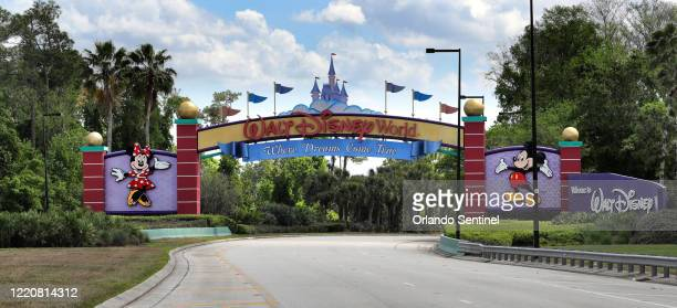 An empty entrance to Walt Disney World on March 24, 2020. The NBA is looking at using the ESPN Wide World of Sports Complex at Disney World as a...