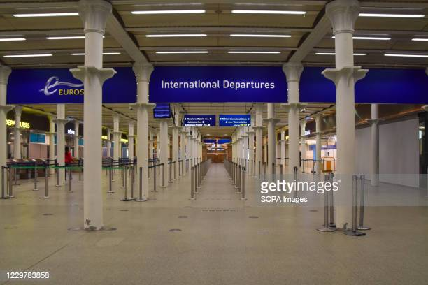 An empty Eurostar departure hall at St Pancras International. The company has recently announced it is in financial trouble due to the ongoing...