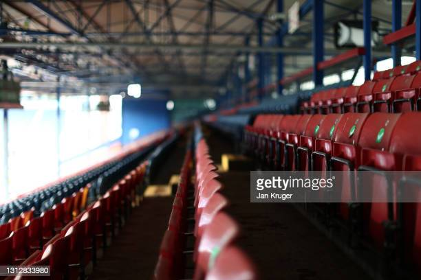 An empty Ewood Park is pictured ahead of the Sky Bet Championship match between Blackburn Rovers and Derby County at Ewood Park on April 16, 2021 in...