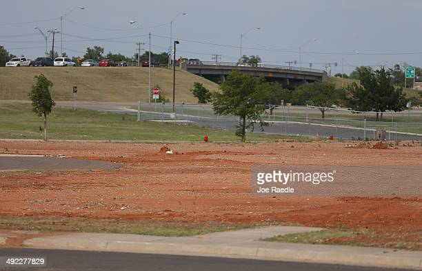 An empty field is seen where the Moore Medical Center was located before it was destroyed one year ago by a tornado on May 18 2014 in Moore Oklahoma...