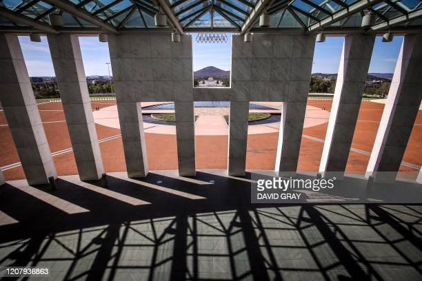An empty forecourt of Parliament House in in Canberra on March 22, 2020.