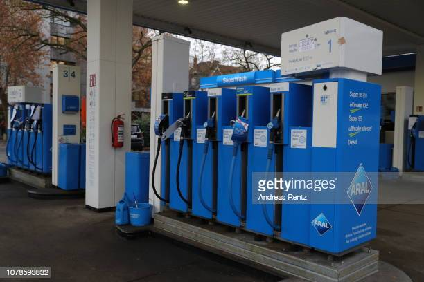 An empty gas station with signs unfortunately currently sold out is pictured on November 26 2018 in Bonn Germany Due to the low water levels on the...