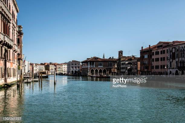 An empty Gran Canal view in Venice, due to the coronavirus Emergency most of the canals are without any traffic in Venice, Italy on March 15, 2020...