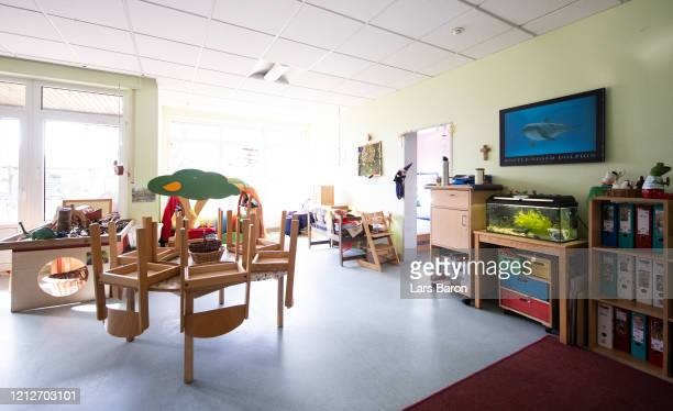 An empty group room of a kindergarten is pictured on the first day of the kindergarten and school's temporary closure as part of nationwide measures...