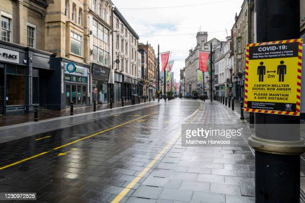 An empty High Street on February 4, 2021 in Cardiff, Wales. Wales went into a Level 4 lockdown from midnight on December 19. All non-essential shops...
