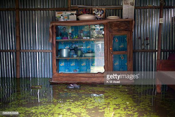 An empty home after being affected by floodwater in Kurigram Bangladesh has been suffering from devastating monsoon floods from the middle of July...