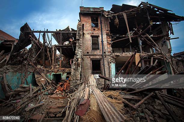 KATHMANDU BAKTOPUR KATHMANDU NEPAL An empty house damaged after a massive earthquake magnitude78 hit the country on 25 April 2015 in near bhaktapur...
