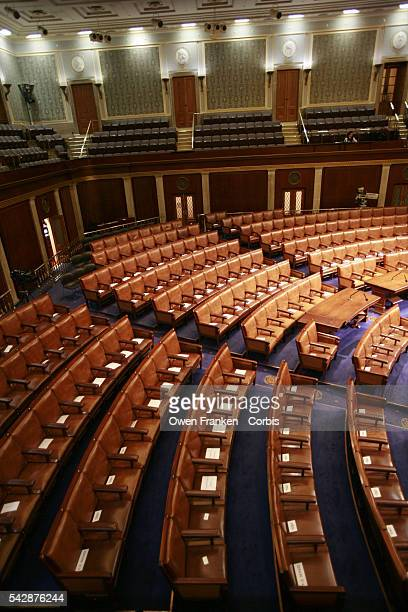 An empty House of Representatives chamber at the United States Capitol the day of President Obama's State of the Union Address in Washington DC...