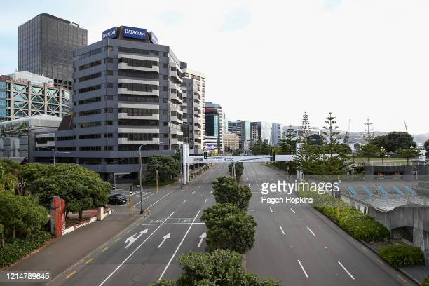 An empty Jervois Quay during the first day of a nationwide lockdown on March 26 2020 in Wellington New Zealand New Zealand has gone into lockdown as...
