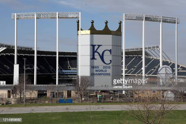 An empty Kauffman Stadium home of the Kansas City Royals is shown on what would have been Major League Baseball's Opening Day on March 26 2020 in...