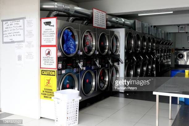 An empty laundromat in Otara is seen during Level 3 lockdown on August 20, 2020 in Auckland, New Zealand. COVID-19 restrictions have been reinstated...
