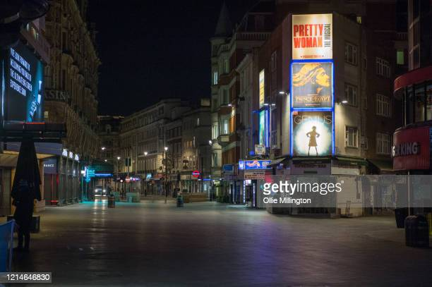 An empty Leicester Square in central London on March 24 2020 in London British Prime Minister Boris Johnson announced strict lockdown measures urging...