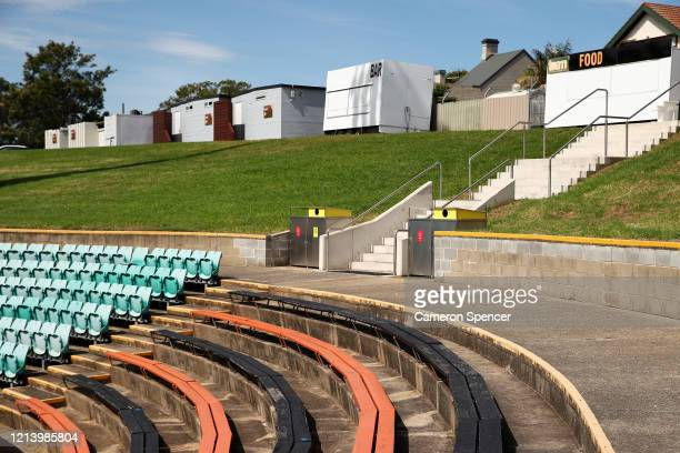 An empty Leichhardt Oval is seen during the round 2 NRL match between the Wests Tigers and the Newcastle Knights at Leichhardt Oval on March 22, 2020...