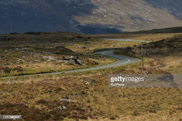 An empty local road between Roundstone and Ballynahinch, during the COVID-19 lockdown. On Saturday, 1 May 2021, in Roundstone, Connemara, County...