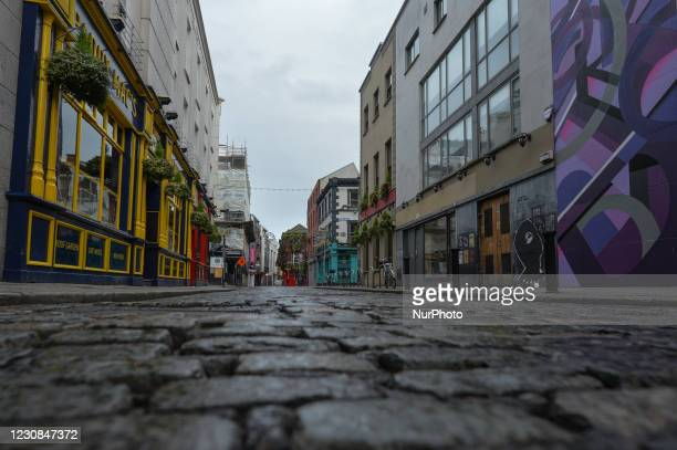 An empty main street in Temple Bar area of Dublin during Level 5 Covid-19 lockdown. On Thursday, 28 January in Dublin, Ireland.