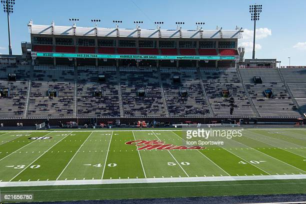 An empty Ole Miss football stadium before the football game between Auburn and Ole Miss on October 29 at VaughtHemingway Stadium in Oxford MS Auburn...