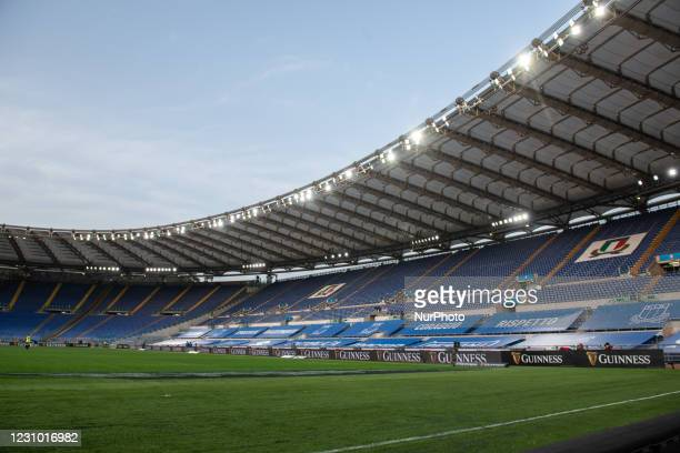 An empty Olimpic Stadium during the 2021 Guinness Six Nations Rugby Championship match between Italy and France at the Olimpic Stadium in Rome,...