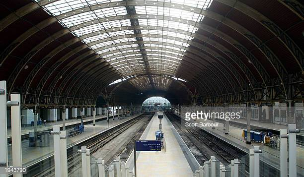 An empty Paddington Station is shown April 22 2003 in London England Commuters returning to work after the Easter break found that the station...