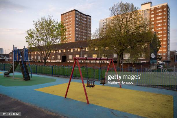 An empty park in Butetown on April 10 2020 in Cardiff United Kingdom In a press conference on Thursday First Secretary of State Dominic Raab...