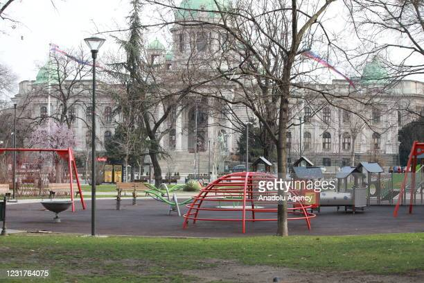 An empty park is seen as the city's streets remain nearly empty after only pharmacies, bakeries and gas stations are allowed to work till March 22...