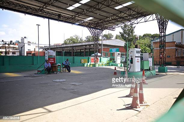 An empty petrol station is seen in Kathmandu on September 30 2015 Nepalese are facing an acute crisis of petroleum products and other essential...
