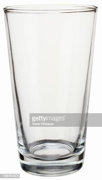 An empty pint drinking glass