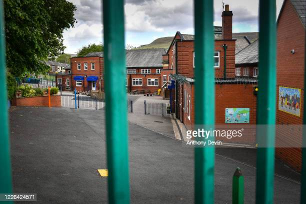 An empty playground at Milton St John's Primary School which has been forced to close for a risk assessment by Public Health England after a...