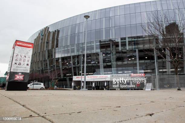 An empty plaza outside of the Sprint Center due to the effects of the Coronavirus cancellation prior to the Big 12 Tournament game between the Texas...